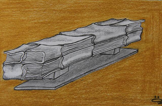 Skizze der  Bücherbank