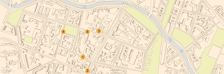 Die Standorte der Bänke auf dem Stadplan